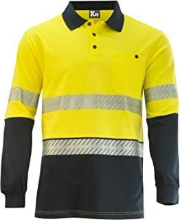 MAK WORKWEAR | Long Sleeve Hi-Vis Cotton Back Polo with Segmented Reflective Tape - Yellow/Navy