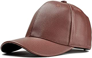 Hat Fashion Ladies Leather Hat Casual Hat Motorcycle Baseball Cap Ladies Fashion Accessories (Color : Brown, Size : 56-60CM)