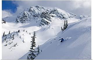GREATBIGCANVAS Poster Print Skier Shredding Powder Below Nak Peak, Cascade Mountains, BC, Canada by Kurt Werby 18