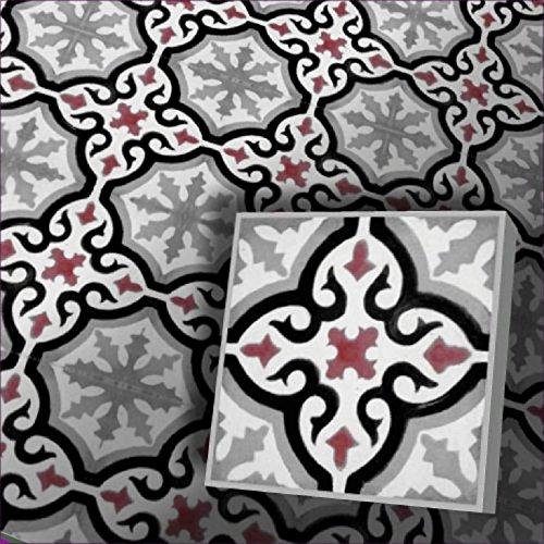 Zementfliesen Iraquia grau rot Musterfliese