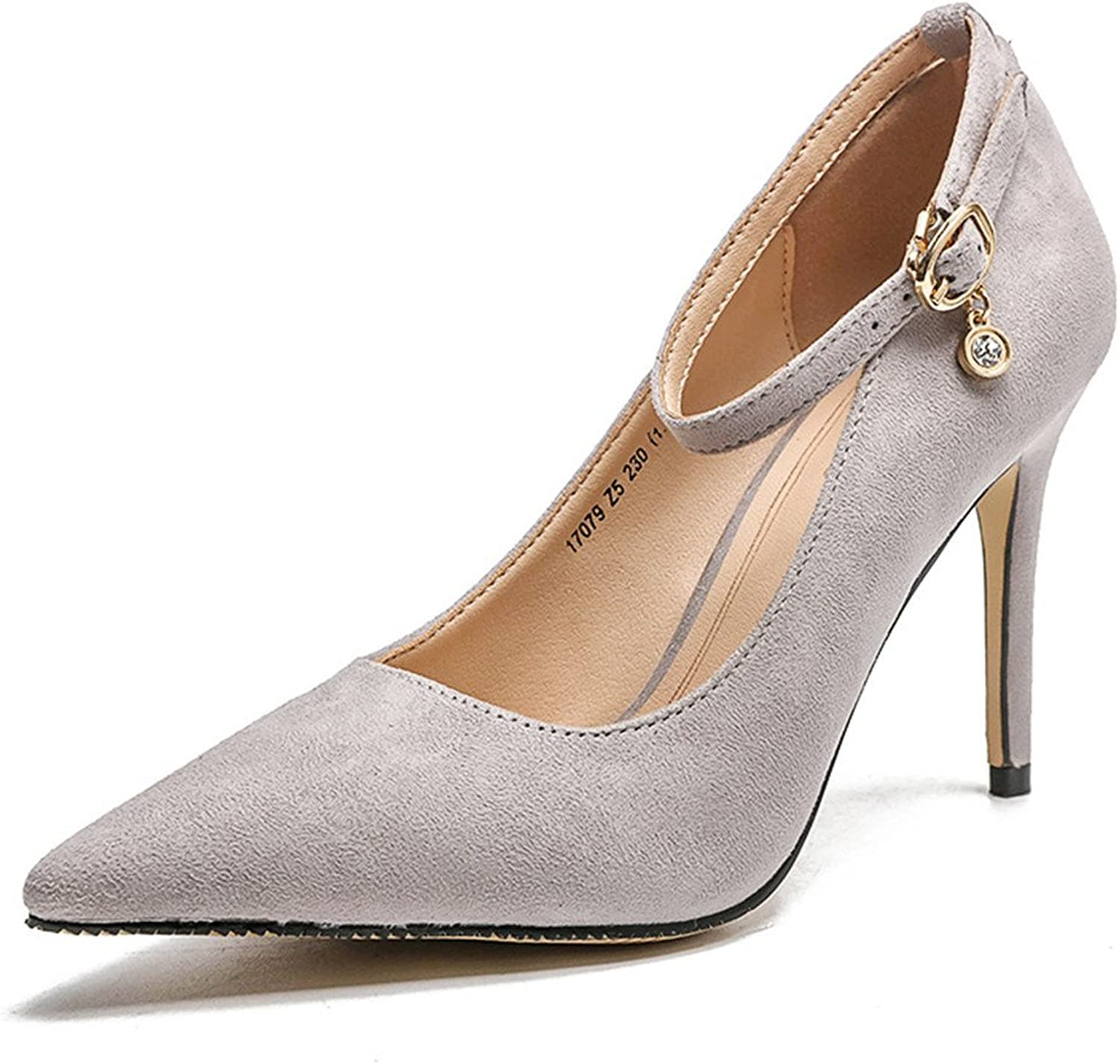 Quality.A Dress shoes Suede Pointed Toe high Heels Bride Bridesmaid Single shoes