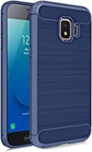 Samsung Galaxy J2 Core Case, J2 2019/ J2 Dash/ J2 Pure/ J2 Shine/SM-J260 Phone Case with Screen Protector,Carbon Fiber Soft TPU Brushed Texture Slim Fit Full-Body Protective Cover for Men/Boys, Navy