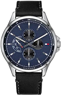 Tommy Hilfiger 1791616 Mens Quartz Watch, Analog Display and Leather Strap, Blue