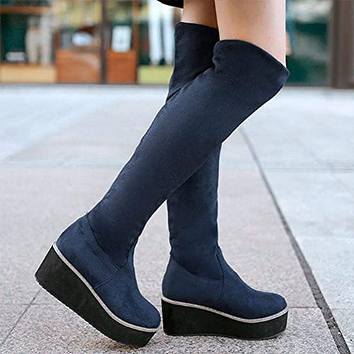 Fuxitoggo botas para mujer - botas de Cuero Mate avanzadas Calzado de Invierno cálido de algodón botas para mujer con elástico Sobre la Rodilla   34-43 (Color   azul, tamaño   36)
