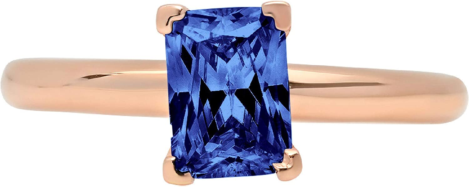 0.95 ct Brilliant Emerald Cut Solitaire Flawless Simulated CZ Blue Tanzanite Ideal VVS1 4-Prong Engagement Wedding Bridal Promise Anniversary Designer Ring Solid 14k Rose Gold for Women