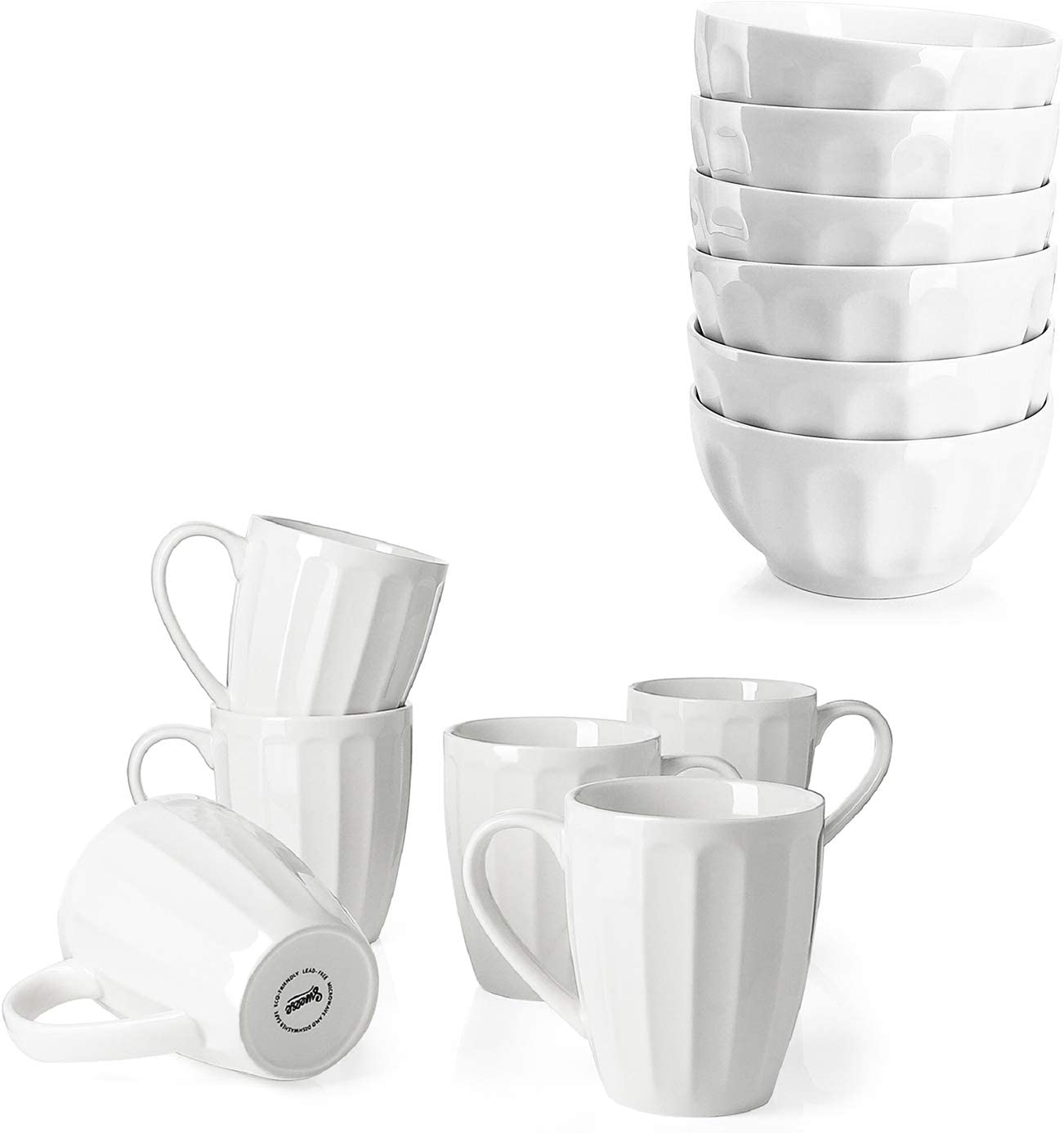 Sweese Porcelain Fluted Coffee Max 52% OFF Mugs - and Cereal Max 84% OFF 14 Ounce