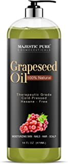 Majestic Pure Grapeseed Oil, Pure & Natural Massage and Carrier Oil, Skin Care for Sensitive Skin, Light Silky Moisturizer...