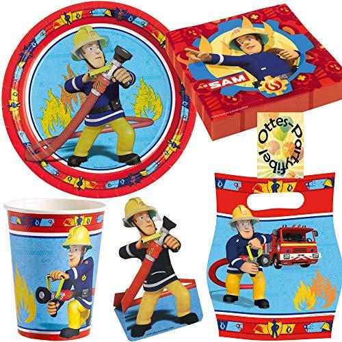 Feuerwehrmann Sam Fireman Partyset 52 Teile Becher Teller Servietten Einladungen Tüten für 8 Kinder