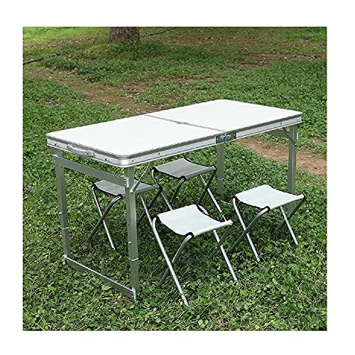 XIAOJU Mesa de Picnic Plegable con 4 taburetes de aleación de Aluminio Juego de sillas de Mesa de Utilidad Mesa de jardín Plegable para Acampar, Fiesta,Silver