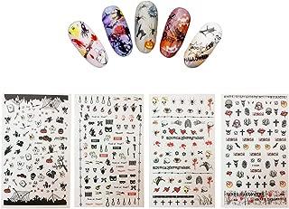 Halloween Nail Decals Tip Nail Art Stickers Self-adhesive Nail Decoration for Manicure DIY or Nail Salon 4 Sheet (gold 02)