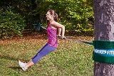 Gibbon Slacklines Fitness Line, Blau, 15 Meter (12,5m Band + 2,5m Ratschenband) mit Ratschenschutz und -rücksicherung, Breite 2″/5cm - 7
