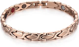 38 Elegant Titanium Magnetic Therapy Bracelet Germanium 5 Element for Relief Arthritis Anxiety Healthy Jewelry with Free Link Removal Tool (Rose Gold)