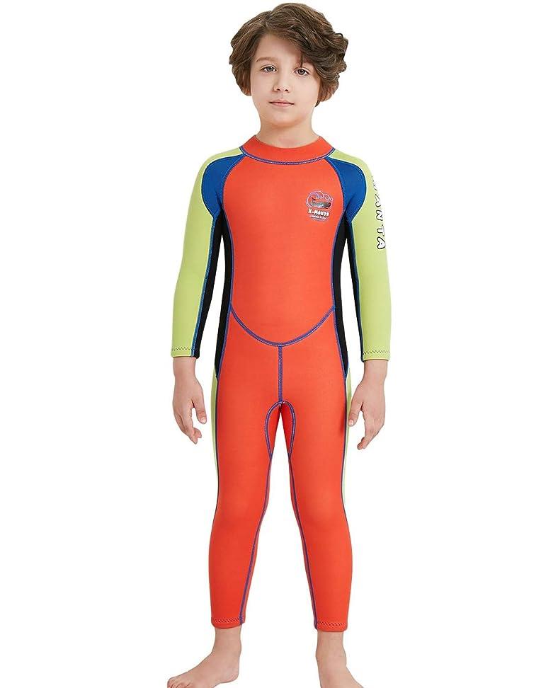 吸収王室集団的ウェットスーツ 子ども用 2.5mm フルスーツ 長袖 マリンスポーツ ダイビングスーツ