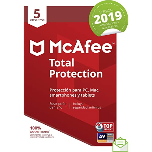 McAfee Total Protection 2019 - Antivirus, PC/Mac/Android/Smartphones, 5