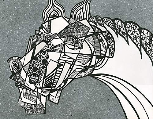 WANDAFBEELDING-op-CANVAS-Pop-en-kubistische-zwart-wit-Paard-op-een-grijze-achtergrond-Alfonso-Fabio-Dieren-Print-op-canvas-op-houten-frame-voor-wanddecorat-Afmeting-65_X_84_cm