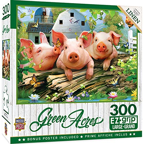 MasterPieces Green Acres 300 Puzzles Collection - Three 'Lil Pigs 300 Piece Jigsaw Puzzle ,18' x 24'