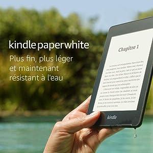 """Kindle Paperwhite - Résistant à l'eau, Écran haute résolution 6"""", 8Go - Avec publicités - Génération précédente (10ème)"""