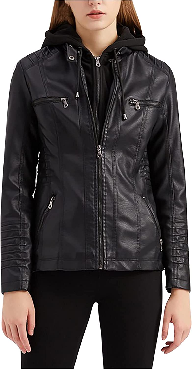 GZUS Women's Motorcycle Belted Faux Leather Jacket Women Motorcycle Coat for Biker with Removable Hood Biker Coat Outerwear