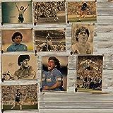 W Weiluogao Diego Maradona Poster, Diego Maradona IcóNico Jugador De FúTbol Foto Print Cartel Argentina Barcelona 10, Maradona Football Star Pop Art Posters Papel Kraft De Arte Vintage (C)