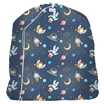 All Cats Go to Space GroVia Reusable Zippered Wetbag for Baby Cloth Diapering and More