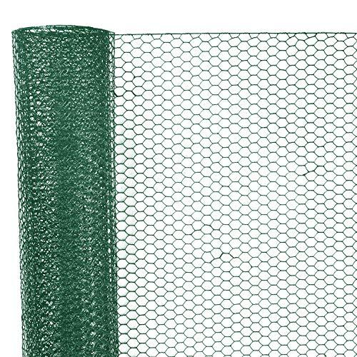 Sechskantgeflecht 25 m - 75cm hoch - Maschenweite 25mm - Drahtstärke 0,7mm - Kaninchendraht Hasendraht Kleintier Volierendraht Tiergehege Gehege - Grün Gitterzaun Zaun Gartenzaun Drahtzaun Geflecht