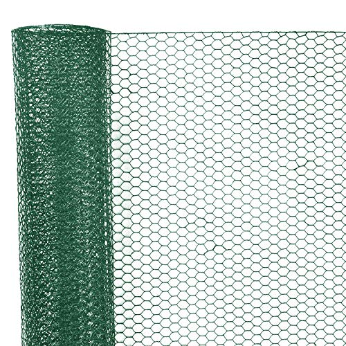 Sechskantgeflecht 10 m - 100cm hoch - Maschenweite 25mm - Drahtstärke 0,7mm - Kaninchendraht Hasendraht Kleintier Volierendraht Tiergehege Gehege - Grün Gitterzaun Zaun Gartenzaun Drahtzaun Geflecht