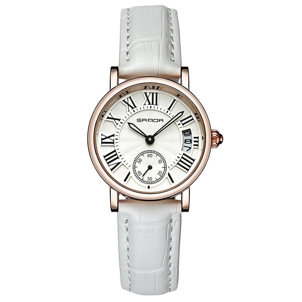 共同選択研磨難破船レディーレディーアナログラウンドクォーツレザーストラップデイトウォッチクラシック腕時計(ホワイト)