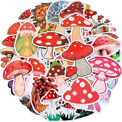 100 Pieces Mushroom Stickers Mushroom Graffiti Sticker for Water Bottle Cute Cool Agaric Decals product image