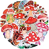 100 Pieces Mushroom Stickers Mushroom Graffiti Sticker for Water Bottle, Cute Cool Agaric Decals Waterproof Cartoon Mushroom Vinyl Stickers for Laptop, Skateboard, Computer, Guitar, Hydro Flasks