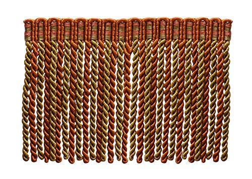 15,2 cm de long lingot Frange tailler, style # DB6 – Cuivre, Vert olive – Rouille 07 (vendu au mètre)