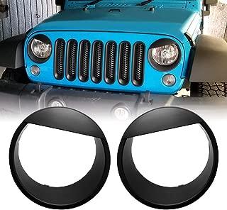AMERICAN MODIFIED 2007-2018 JK JKU Jeep Wrangler Clip-in Bezels Headlight Cover Headlight Trim Angry Bird, Matte Black (ABS-Pair)