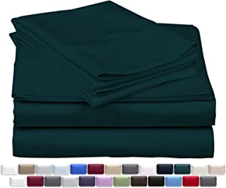 True Luxury 1000-Thread-Count 100% Egyptian Cotton Bed Sheets, 4-Pc Queen Teal Sheet Set, Single Ply Long-Staple Yarns, Sateen Weave, Fits Mattress Upto 18`` Deep Pocket