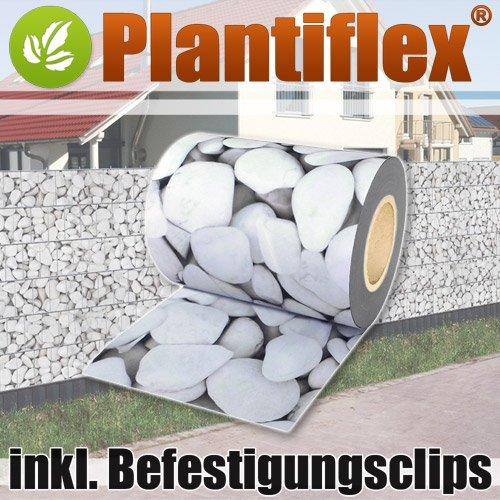 Plantiflex Sichtschutz Rolle 35m Blickdicht PVC Zaunfolie Windschutz für Doppelstabmatten Zaun (Mamorkies)