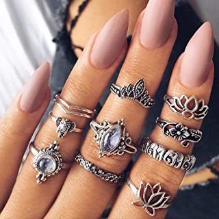 10pcs/Set Women Bohemian Vintage Silver Stack Rings Above Knuckle Blue Rings Set