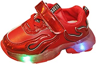 VigorY㉿ Boys Children's Fashion Luminous Sneakers Girls LED Light Up Shoes Kids Breathable Flashing Sneakers as Gift