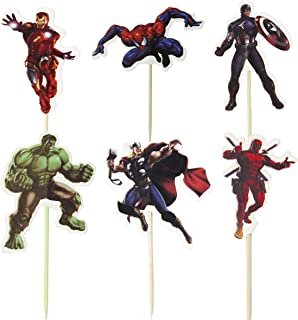 48pcs The new Avengers and Superman Cupcake Toppers for Birthday Party Cake Decoration Supplies