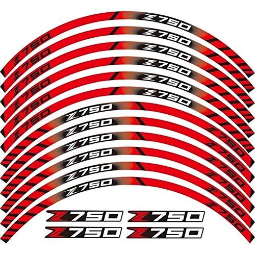 LQCHH Moda Motocicleta 12 X Grueso del Borde del Borde Exterior Etiqueta Banda Reflectante Rueda Calcomanías Sirve for Todos Kawasaki Z750 z 750 Bien Hecho (Color : A Red)