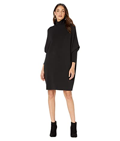 Majestic Filatures French Terry Relaxed Turtleneck Dress (Noir) Women