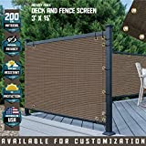 TANG 3' x 15' Brown Residential Commercial Privacy Deck Fence Screen 200 GSM Weather Resistant Outdoor Protection Fencing Net for Balcony Verandah Porch Patio Pool Backyard Rails