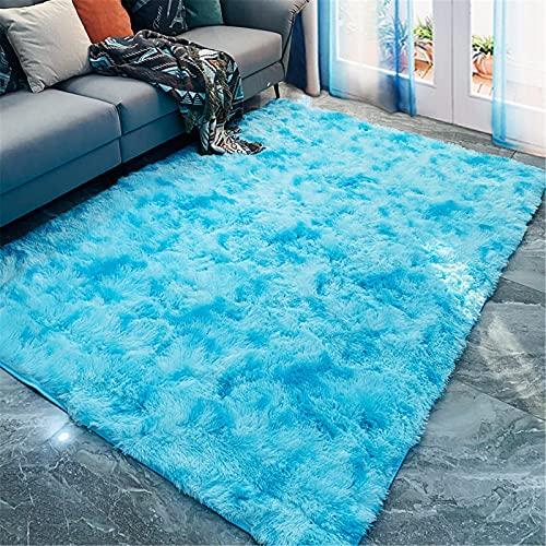 LBMTFFFFFF Alfombra moderna minimalista para el hogar, el salón, de un solo color, de seda, para dormitorio, cama, pelo largo, estilo nórdico, 140 x 200 cm