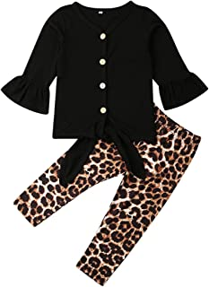 Baby Girls Clothes Long Sleeve Outfits Tops Long Pants Leopard Print Trousers Toddler Sets