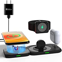 Aimtel Wireless Charger,4 in 1 Magnetic Charging Station for Apple Products Mag safe Charger Stand for iPhone 12/Pro/Pro M...
