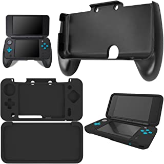 AFUNTA Hand Grips Compatible New 2DS XL with Silicone Case, Plastic Handle with Anti-Slip Protective Cover Compatible 2DS LL - Black