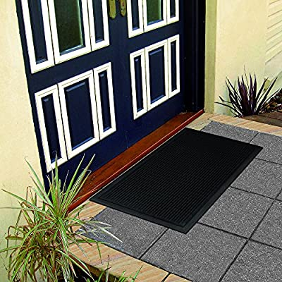 """Ottomanson Rubber Collection Doormat, 24""""X36"""", Charcoal"""