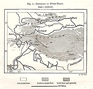 H'wen-Tsang. Xuanzang itinerary. India Afghanistan Central Asia. Sketch map - 1885 - Old map - Antique map - Vintage map - Printed maps of Central Asia