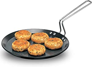 Futura Hard Anodised Flat Tava Griddle, 10-Inch, 4.88mm with Steel Handle, Black