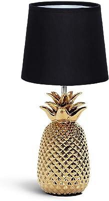 Aigostar - Lampe de Chevet, Lampe en Céramique, Douille E14 Forme d'ananas en or, Lampe Ananas, Abat-jour en Tissu, Lampe de Bureau Design Moderne, H36cm