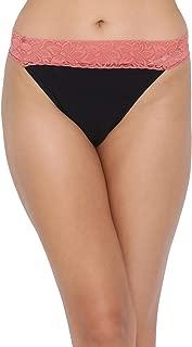 Clovia Women's Low Waist Thong in Black & Coral Orange - Cotton & Lace