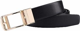 أحزمة جلدية مربعة للرجال، حزام بسقاطة مع إبزيم منزلق أوتوماتيكي