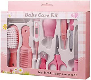 TEEROVA Baby Grooming Kit 10pcs Newborn Nursery Health care Set Baby Nail Clipper File Scissor Tweezer Thermometer Brush Comb (Pink)
